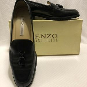 ENZO ANGIOLINI BLACK CALF LEATHER LOAFERS 9.5 M